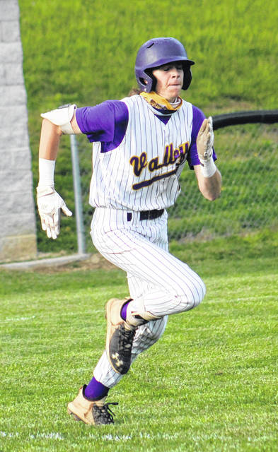 Valley senior Breckon Williams sprints towards first base during the Indians' non-league baseball game on Tuesday against Clay.