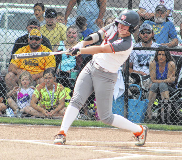 Wheelersburg's Macee Eaton bats in the opening inning of the Pirates' Division III softball district championship game against Wellston on Saturday at Unioto High School.