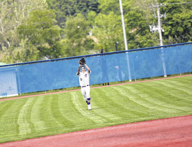 Valley sophomore Carter Nickel (10) a catch on a flyout from center field during the Indians' 2-0 win over Paint Valley in a Division IV, Region 15 semifinal.