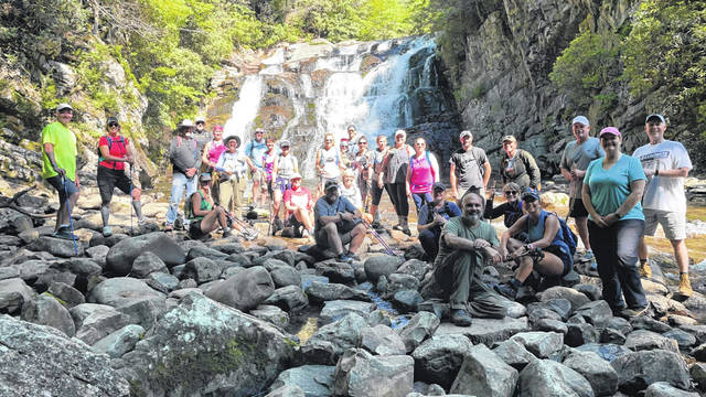 Portsmouth Connex and others hiked the Appalachian Trail. This is a photo of the entire group at Laurel Falls near Hampton, Tennessee.