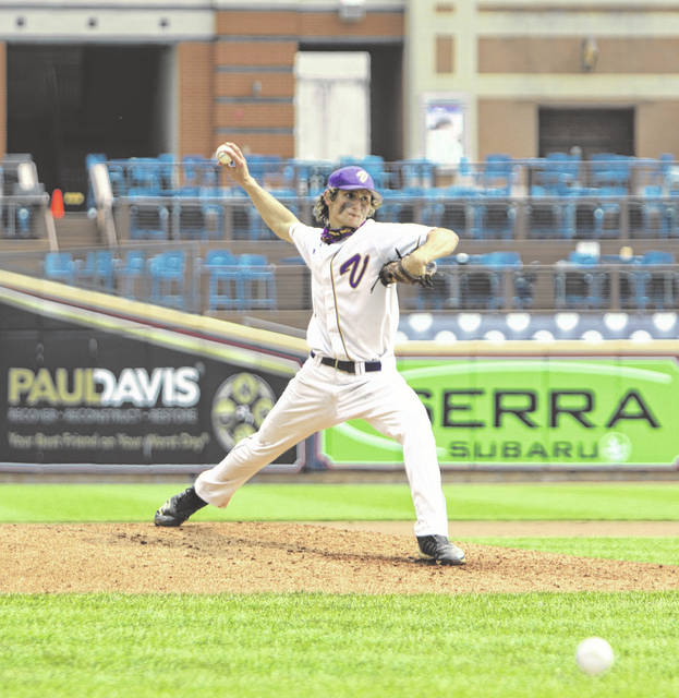 Valley's George Arnett delivers a pitch to a Lincolnview batter during Saturday's Division IV baseball state semifinal game at Akron's Canal Park.