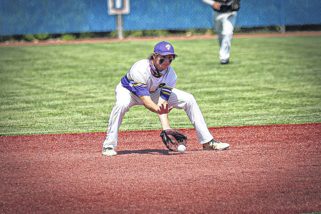 Valley sophomore George Arnett fields a ground ball during the Indians' 5-2 win over Berlin Hiland in a D-IV, Region 15 Final at Beavers Field.