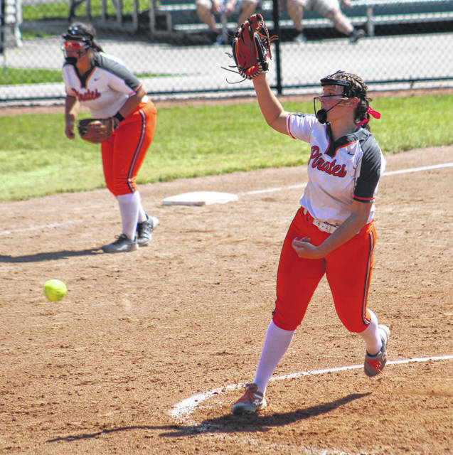 Wheelersburg's AndiJo Howard delivers a pitch to a Fairview batter during Saturday's Division III softball state semifinal game.