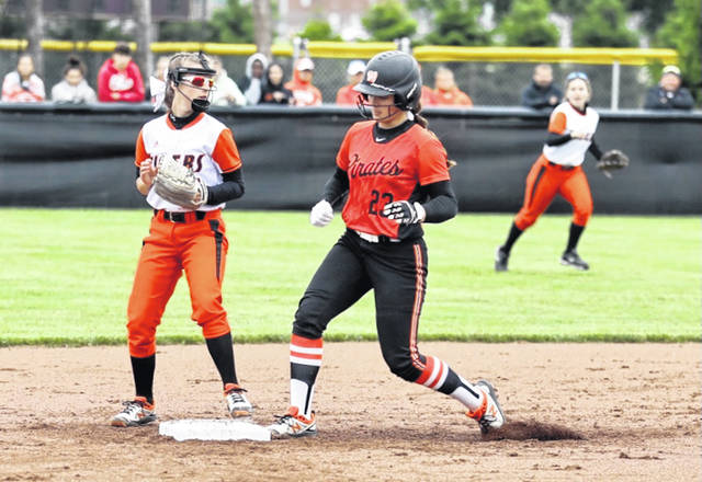 Wheelersburg sophomore Macee Eaton (23) is one of the top team hitters, as the Pirates play in their fourth all-time state softball tournament this coming weekend.