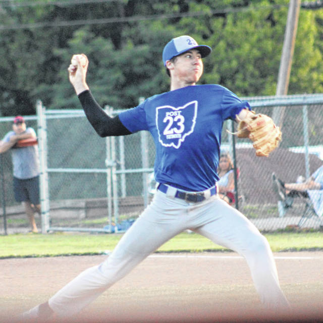 Portsmouth pitcher Daewin Spence delivers a pitch to a Chillicothe batter during Tuesday's SCOL American Legion Baseball game at Wheelersburg High School.