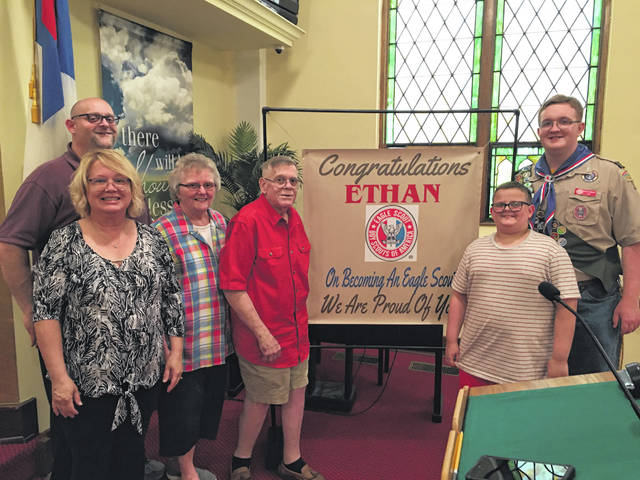 Proud Crabtree family on award day - Eric, and Teresa parents, Vicki and Steve grandparents, brother Elijah and Eagle Scout-Ethan.