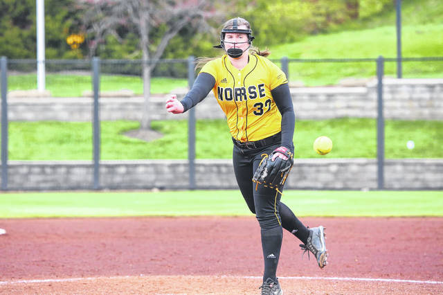 Former Wheelersburg High School and current Northern Kentucky University pitcher Faith Howard (32) held opponents to a .244 batting average and appeared in 16 games for the Norse during the 2021 season.