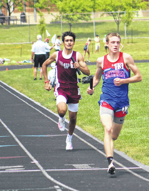 Northwest High School's Landen Smith, shown here running the final leg of Friday's 4x800m boys relay race, secured state runner-up honors in two events as part of the Division II state track and field meet at Pickerington North High School.