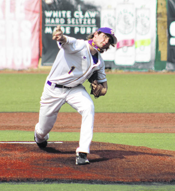 Valley sophomore George Arnett (1) delivers a pitch to a Huntington batter during Valley's Division IV baseball district championship game at VA Memorial Stadium.