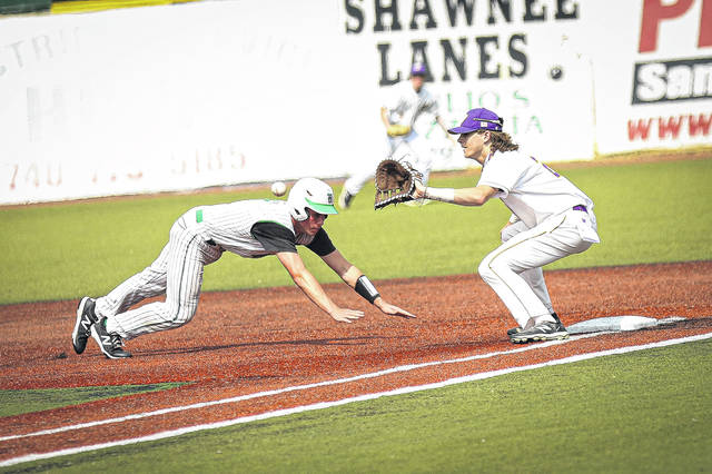 Valley senior Breckon Williams (2) receives a pick off attempt to tag out the runner at first base during the Indians' 7-1 win over Huntington in a Division IV district final.