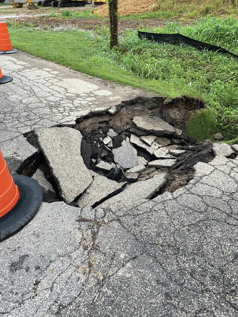 Thursday evening's storm caused road damage at 100 Gervis Road, Franklin Furnace. Along with road damage area flooding and mudslides took place.