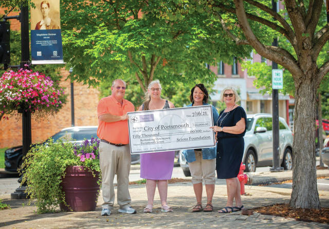 Left to Right Sam Sutherland, City of Portsmouth, City Manager Kim Cutlip, Scioto Foundation, Executive Director Tracy Shear, City of Portsmouth, Community Development Manger Patty Tennant, Scioto Foundation, Program Officer – Donor Services