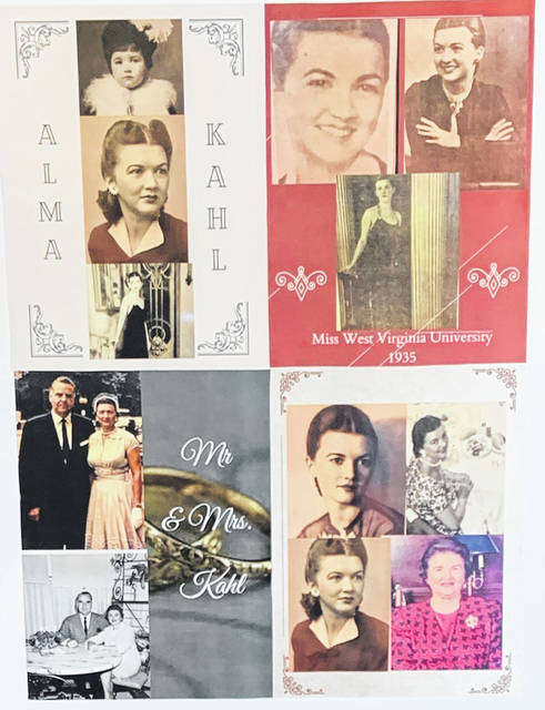 This display shows Alma Kahl through the years along with her Miss West Virginia University beauty queen photos and her wedding photo.
