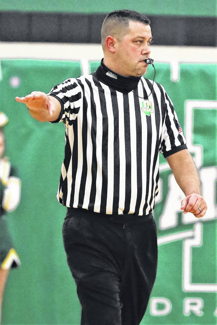 Matt Orin, shown here officiating a boys basketball game at Fairland High School and who had Scioto County roots, passed away on Saturday night at the age of 39.