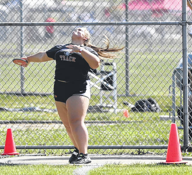 Wheelersburg graduate Justus Steward qualified for the Division II state track and field meet in the girls discus throw.