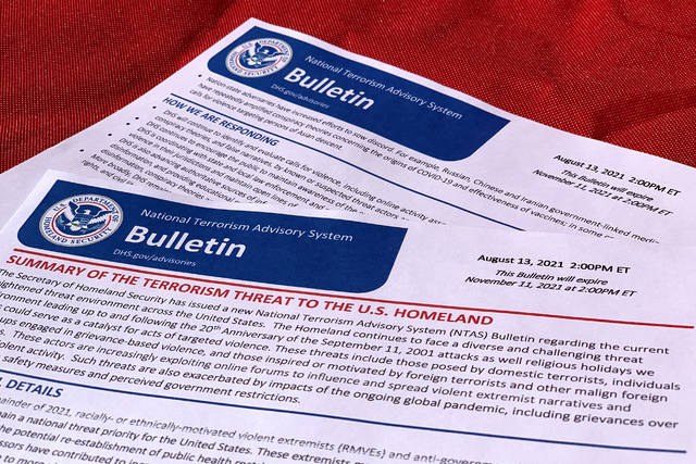 This Aug. 13, 2021, photo shows the latest terrorism alert bulletin issued by the Department of Homeland Security. The bulletin warns that the upcoming 20th anniversary of the Sept. 11 attacks as well as approaching religious holidays could inspire violent attacks by extremists. A National Terrorism Advisory System Bulletin issued Friday does not cite any specific threats. (AP Photo/Jon Elswick)