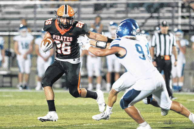 Wheelersburg senior Carson Williams (26) rushed for 71 yards and a touchdown on 11 carries in the Pirates' 26-3 non-league football victory over Chillicothe on Friday night at Wheelersburg's Ed Miller Stadium.