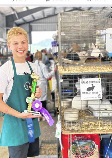 Gage Hall is on a roll as a five-time winner of Grand Champion Market Rabbit