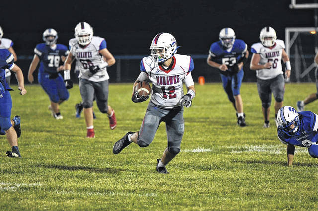 Northwest sophomore Tanner Bolin (12) had three receptions for 114 yards and two touchdows in the Mohawks' 40-0 win over Southeastern.