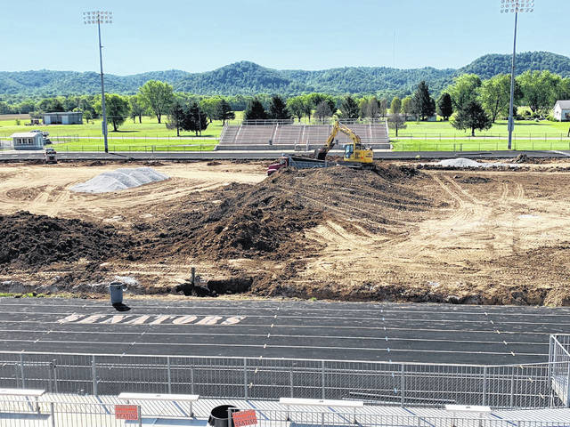 A look at the Portsmouth West High School football field in June 2021 prior to the installation of a turf field.