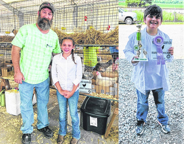 Left: Madden Cartee with her proud grandpa Shonkwiler and her Grand Champion Chicken. Right: P.J. Miller with his Reserved Champion Chicken.