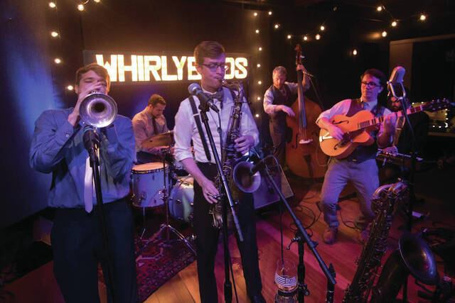 The Whirlybirds, a swing/pop band from Columbus. The group will be playing outside in the Alley, with music beginning at 6 p.m.