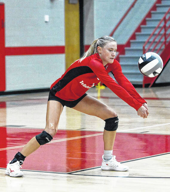 South Webster senior Bri Claxon (1) returns a serve during the Lady Jeeps' Southern Ohio Conference Division II volleyball match against Minford on Tuesday at South Webster High School.