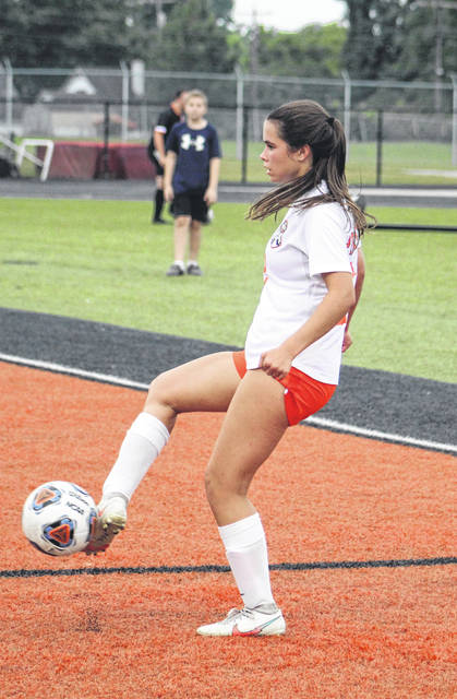 Wheelersburg sophomore forward Bella Miller had all three of the Lady Pirates' goals in their 3-1 win over the Waverly Lady Tigers on Monday.
