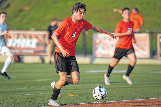 Wheelersburg boys soccer seniors Nathan Sylvia (9) and Jacob Saxby (5) are two key returnees as the Pirates play for an encore to their first-ever regional championship in school history.
