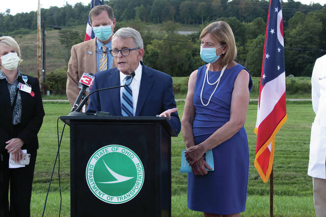 Governor Mike Dewine discussing Covid19 related issues at Greater Portsmouth Regional Airport.
