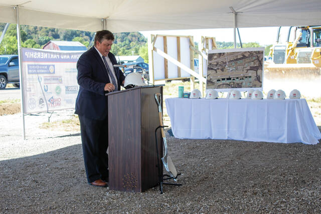 Scioto County Commissioner, Bryan Davis, speaking during the S.O.A.R. groundbreaking.