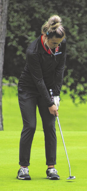 West junior Lexi Deaver tied for medalist runner-up honors as part of Monday's Division II Southeast District girls golf sectional tournament at Franklin Valley Golf Club.