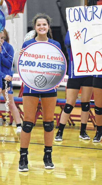 Northwest senior Reagan Lewis recorded her 2,000th career assist during the Lady Mohawks' 3-0 win over Clay on Monday.