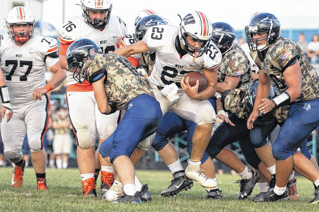 West junior Ryan Sissel (23) scored two rushing touchdowns and had one pick-six during the Senators' 41-12 road win over Adena in non-league play.