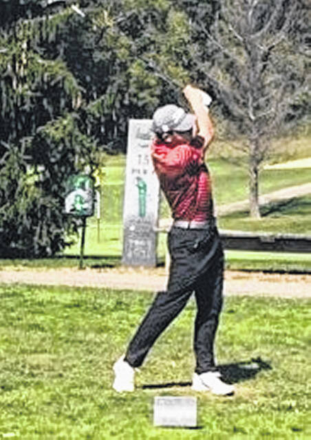 South Webster senior Cam Carpenter tees off on the 15th hole during Wednesday's Division III boys golf sectional tournament at Franklin Valley Golf Club.