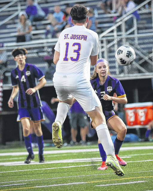 Valley junior Lucie Ashkettle scores one of her three goals for her first career hat trick as part of the Indians' 6-1 Southern Ohio Conference Division I soccer victory over Ironton St. Joseph.