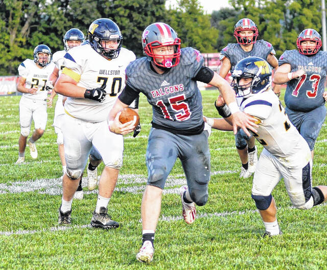 Minford senior quarterback Devin Parker rushed for a 68-yard touchdown and threw for a 37-yard touchdown in the Falcons' 27-18 non-league football victory on Friday night over visiting Wellston.