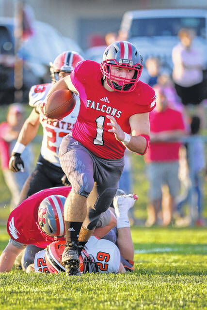 Minford running back Jeffrey Pica (1) rushed for 100 yards and a touchdown on only six carries in the Falcons' 48-0 win against Oak Hill on Friday night in the two teams' Southern Ohio Conference Division II encounter at Minford High School.