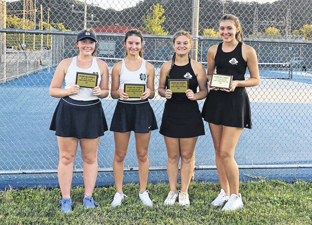The 2021 Southern Ohio Conference girls tennis doubles all-tournament team. Pictured (L-R): Mollie Creech & Savanah Holtgrewe (Notre Dame), Maegan Jolly & Emily Janney (Wheelersburg).