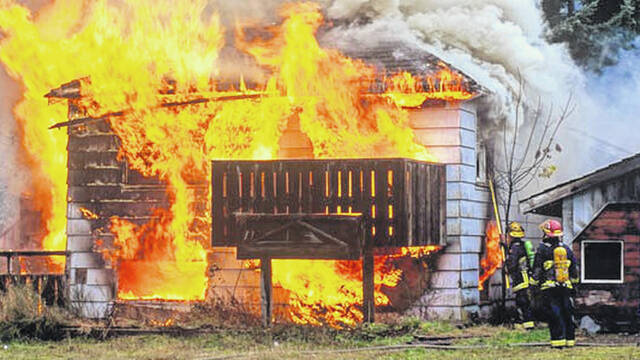 An example of how quickly a house can be engulfed and the firefighters who try to save lives and put out the fire.