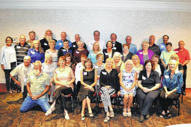 Mount Gilead High School Class of 1967 held its 50th Reunion Saturday, Sept. 16, at the Ontario Event Center. Shown, from left, are top row and standing: Debra Fate Rice, John Zimmerman, Gary Hobson, Tim Casto, Frank Slavik, Mike Pfeifer, Mike Barnett, Steve Brown, Cal Shirk, Clarence Keckler, David Hartpence. Third row and standing: Vickie Smith McKinney, Marsha Baughman Crawford, Betty Linscott Moodispaugh, Sandi Wehr Dion, Edna McHugh Bunting, Teresa Knox Soulier, Helen Farrington, Chris Mosier Bensley, Carol Pate Beach, John Geyer. Second row , seated: Charlie Shaffer, Sharon McCracken Kincade, Karen Smith Hildebrand, Marilyn Baker Ogden, Vickie Chubb Ahlefeld, Carolyn Neal Baldwin, Jenny Long Piccin, Alice Mosier Turner, Gloria Conkle Hershey. Bottom row, seated: Mike Hedrick, Judy Jagger-Mescher, Carol Kimball, Sherry Heacock Szep, Janet Hildebrand Cochran, Judy Phillips Goff, Bonnie McClelland Drake.