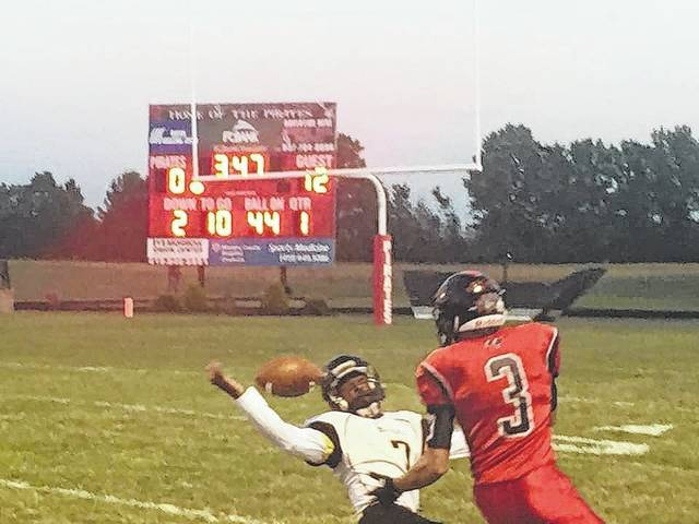 Demetrius Johnson of Northmor defends a Cardington pass intended for Garrett Wagner Friday night.