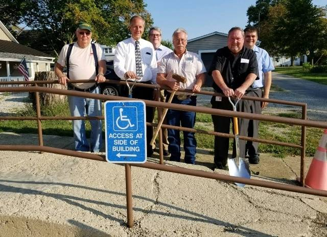 Construction on the Walnut Place handicap improvements are under way. Morrow County officials held a brief ceremony Wednesday morning.