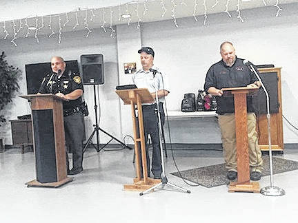 Morrow County Sheriff John Hinton, EMS Director Jeff Sparks and Keith Acker (9-1-1) levy spoke to the crowd Thursday night about the three countywide issues on the Nov. 7 ballot.