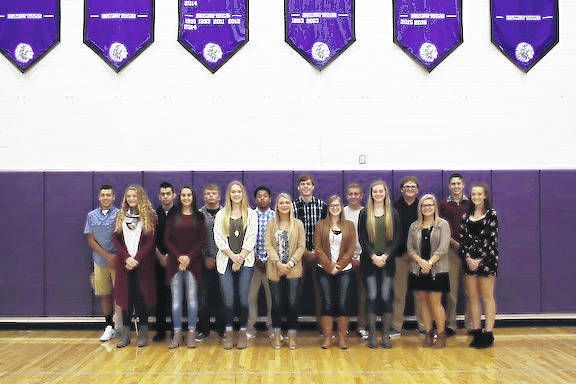 Members of the court are, front row, from left: Freshman Abbie Van Houten, Senior Kayla Barker, Senior Makalyn Strahm, Senior Kora James, Senior Molly Brooke, Senior Corrin Watts, Junior Makayla Howard, and Sophomore Zoie Barron. Second row: Freshman Owen Blanton, Senior Gabriel Esparza, Senior Hunter Trimmer, Senior Tim Brower, Senior Seth Young, Senior Tyler Clark, Junior Jacob Lodge, and Sophomore Branson Brooke.