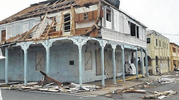 This photo shows a hurricane-struck Strand Street on the water front in the village of Fredericksted, St Croix, U.S. Virgin Islands.