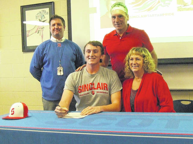Highland senior Sam LoPiccolo signed to play baseball for Sinclair Community College. In the picture with him in the front row is his mother, Kim. In the back row are (l-r): Scot baseball coach Don Kline and his father, Sam.