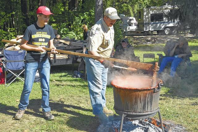 The State Park Apple Butter Festival, with Sam Young and John Massie of Troop 20 stirring apple butter. Mount Gilead State Park is a top attraction for drawing people to visit Morrow County.