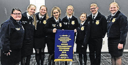 The Cardington Novice Parliamentary Procedure team at their contest, from left, Mikaela Osborne, Sydney Spires, Tess Ruehrmund, Isabelle Crum, Maddie Brehm, Alexis Howard, Luke Goers and Camrie Myers.
