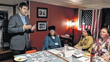 Franklin County Recorder Danny O'Connor makes a point during the Morrow County Women Democrats meeting.